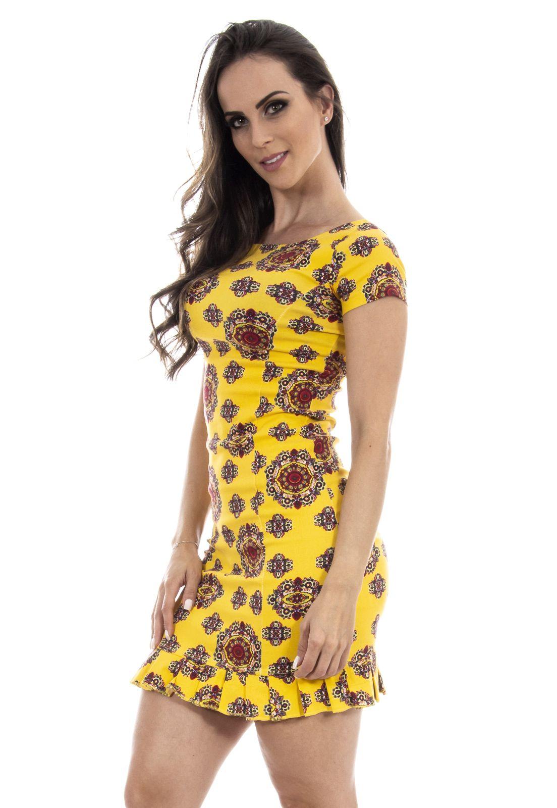 42dda6a4e Vestido curto estampado amarelo ! | Confecção feminina | Saias ...