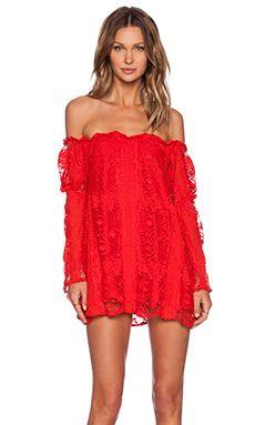 For Love & Lemons Garden Rose Dress in Hot Red