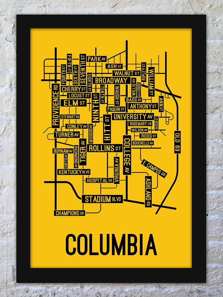 Columbia Missouri Street Map Print Man Cave Columbia