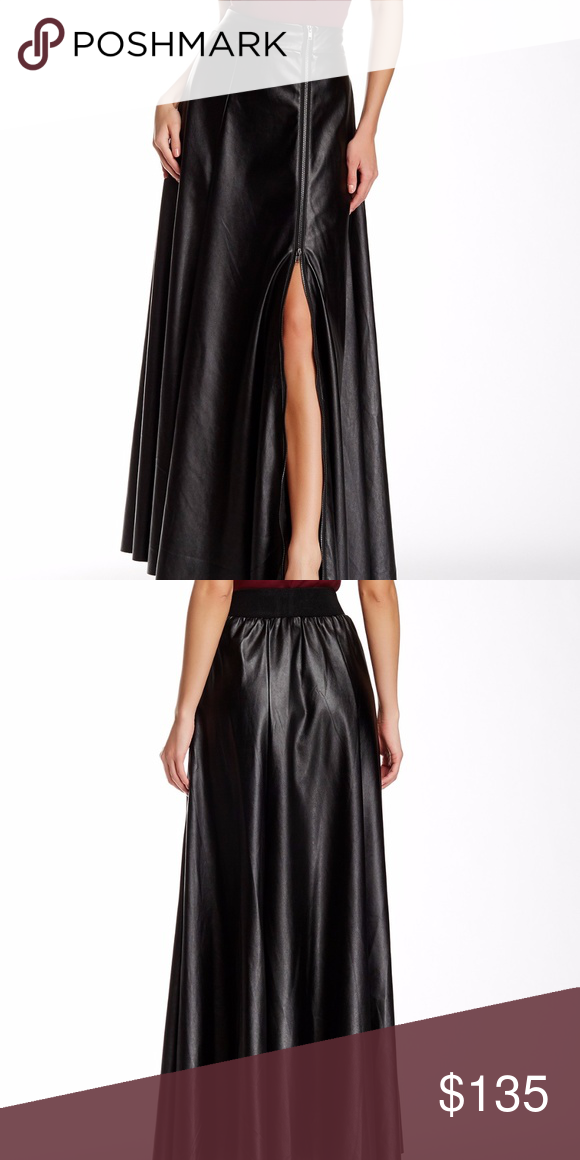 c657d81ad9 TOV Faux Leather Maxi Skirt 42 12 Black Details A front zip detail reveals a