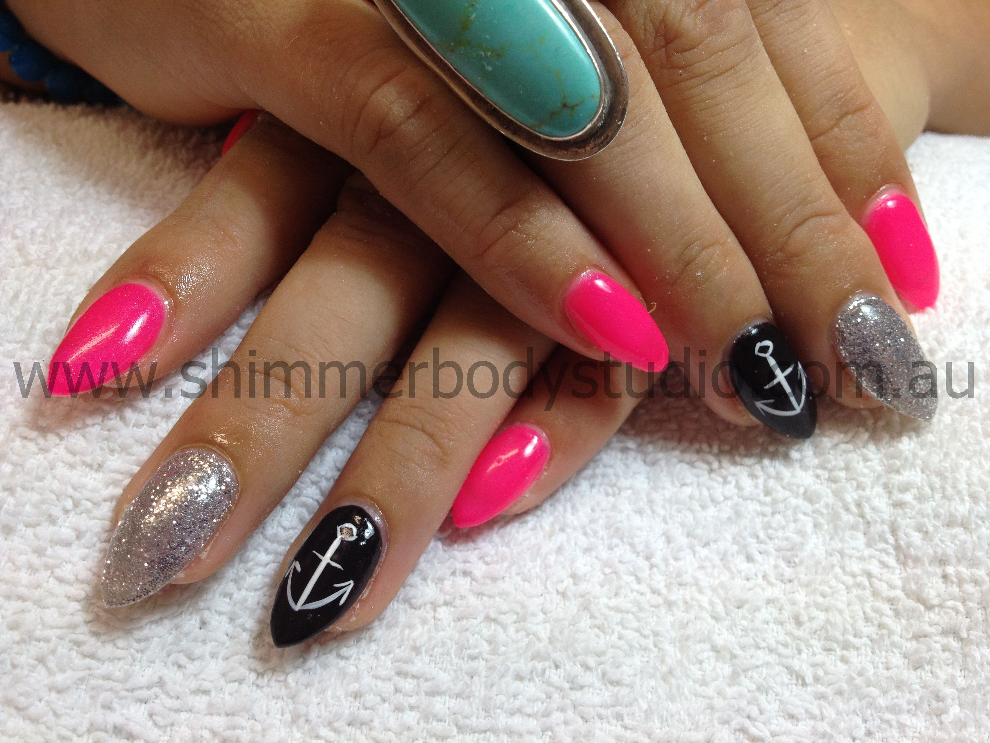 Gel Nails, Pointed Stiletto nails, Pink, Black, Silver ...