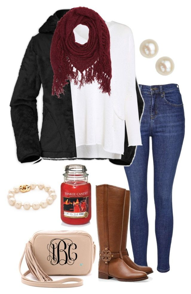 """❤️❤️❤️"" by madelyn-abigail ❤ liked on Polyvore featuring Topshop, The North Face, Crea Concept, Tory Burch, Lauren Merkin, Charlotte Russe, Yankee Candle and Honora"