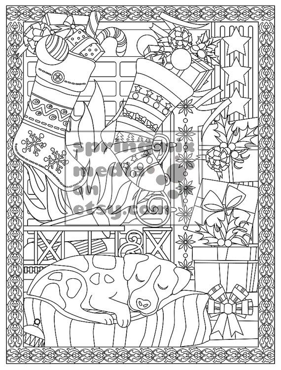 This Christmas Comfort coloring page is so pretty fun and