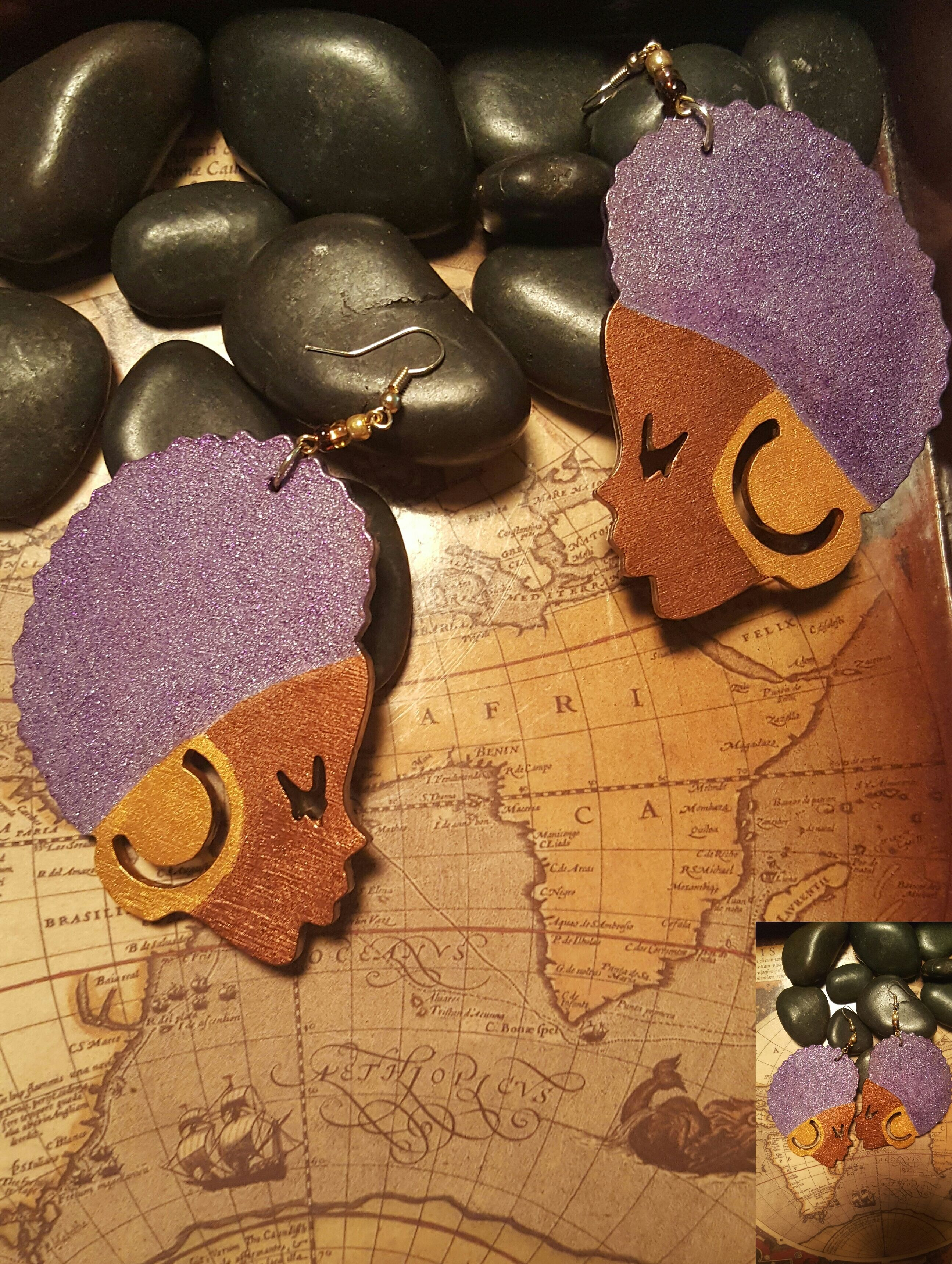 Rock your fro and these hot Afro Chic dangle earrings.  Hand painted in Gold, Bronze and Diva Purple.     3x3 inches     Dare to Be Original | Shop this product here: http://spreesy.com/3rdEyeDiva/504 | Shop all of our products at http://spreesy.com/3rdEyeDiva    | Pinterest selling powered by Spreesy.com