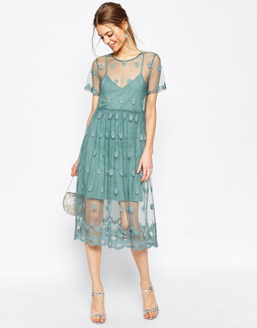 ASOS Pretty Embroidered Mesh Midi Dress