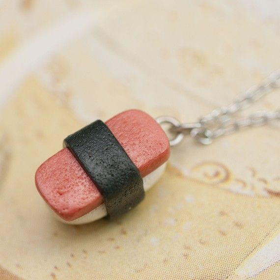 Necklace  SPAM Musubi Sushi Handmade by Roscata by roscata on Etsy, $18.00