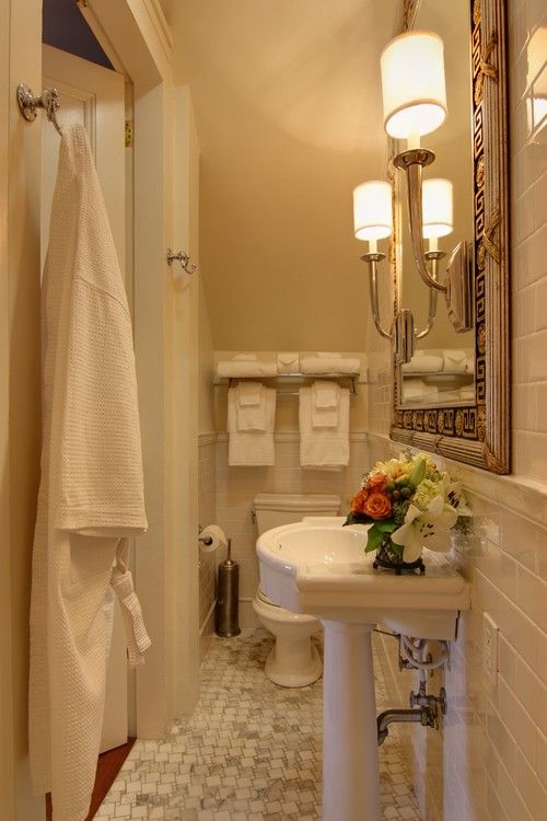 Traditional Bathroom White Tile Bath Design Pictures Remodel Decor And Ideas Page  By Nelson Wilson Interiors Train Rack
