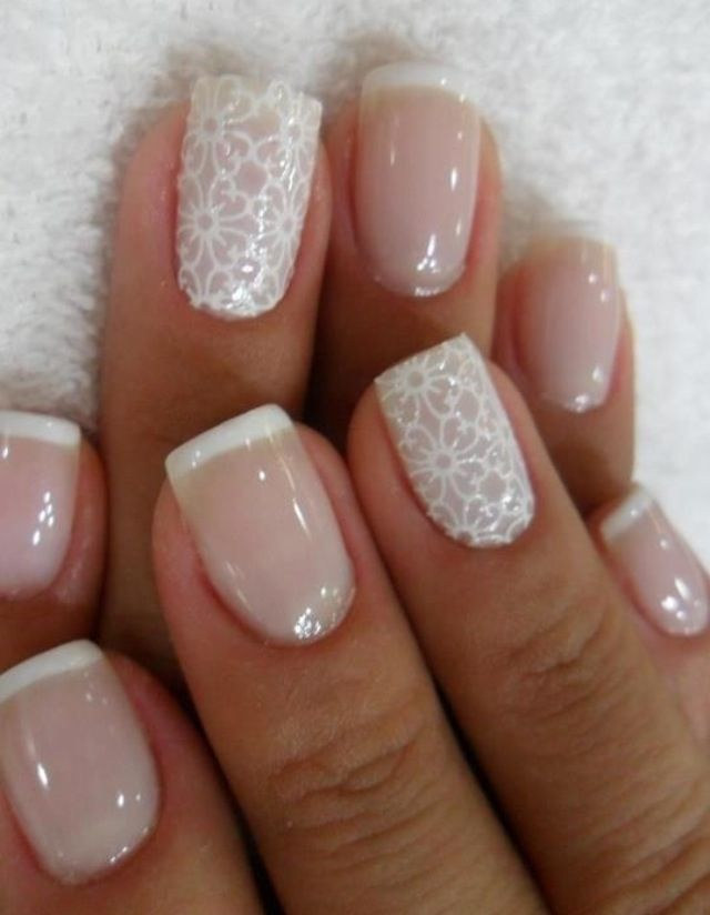 I love these white lace nails so much! #Frenchmanicure #TopshopPromQueen
