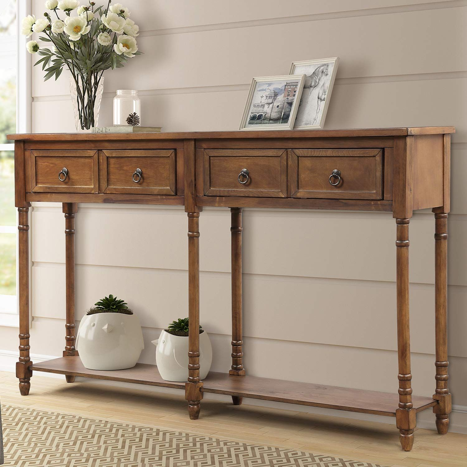 Amazon Com P Purlove Console Table Sofa Table With Storage For Entryway With Drawers And Shelf R In 2020 Sideboard Console Table Console Table Sofa Table With Drawers