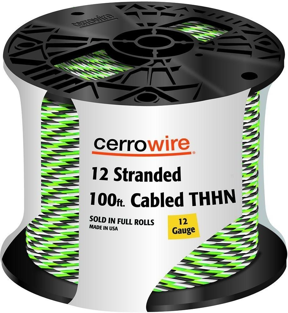 medium resolution of cerrowire 100 ft 12 3 black white and green cabled stranded thhn cable wire cerrowire