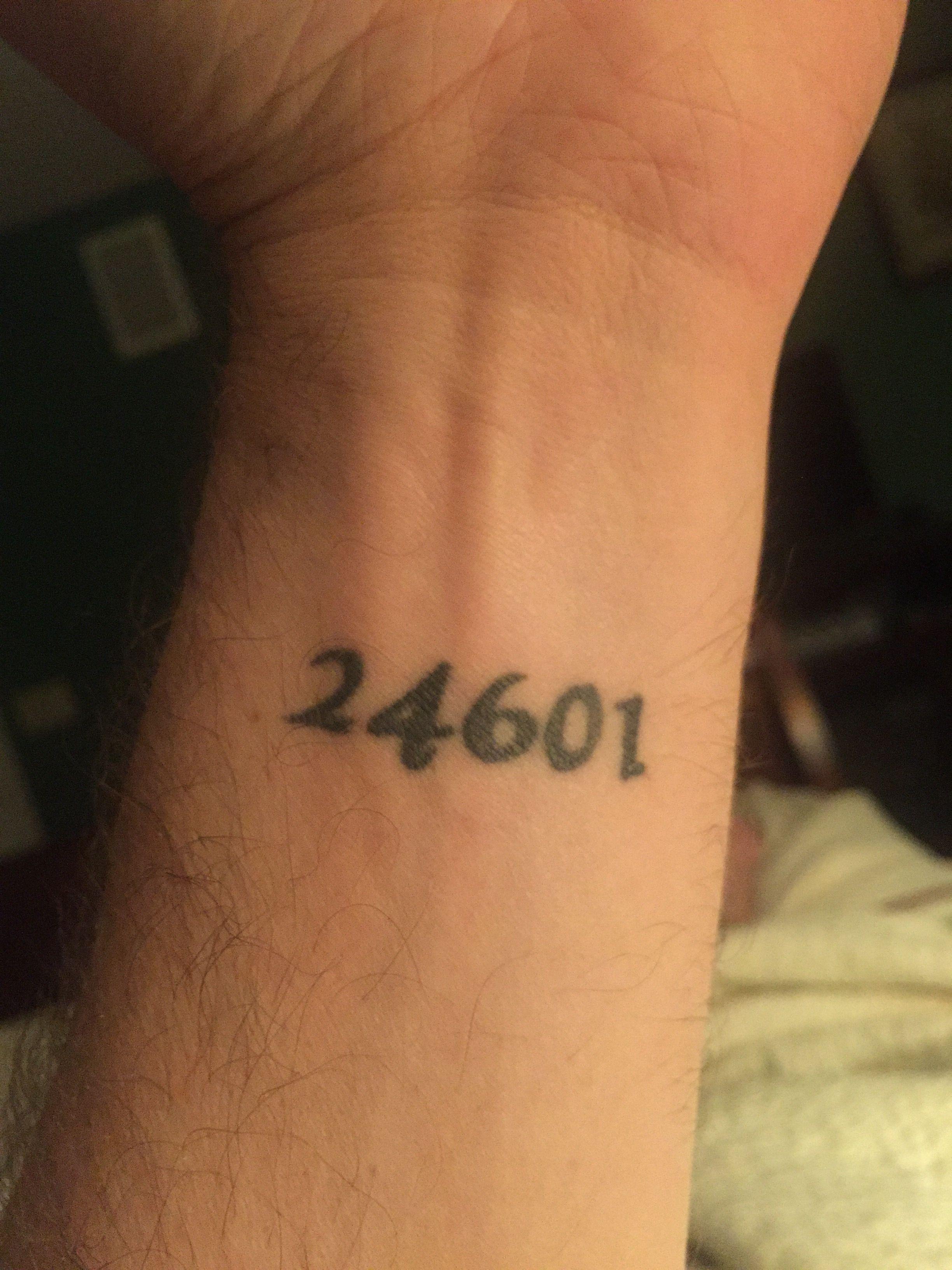 Jean valjean prison number tattoo tattoos pinterest for Number 3 tattoo