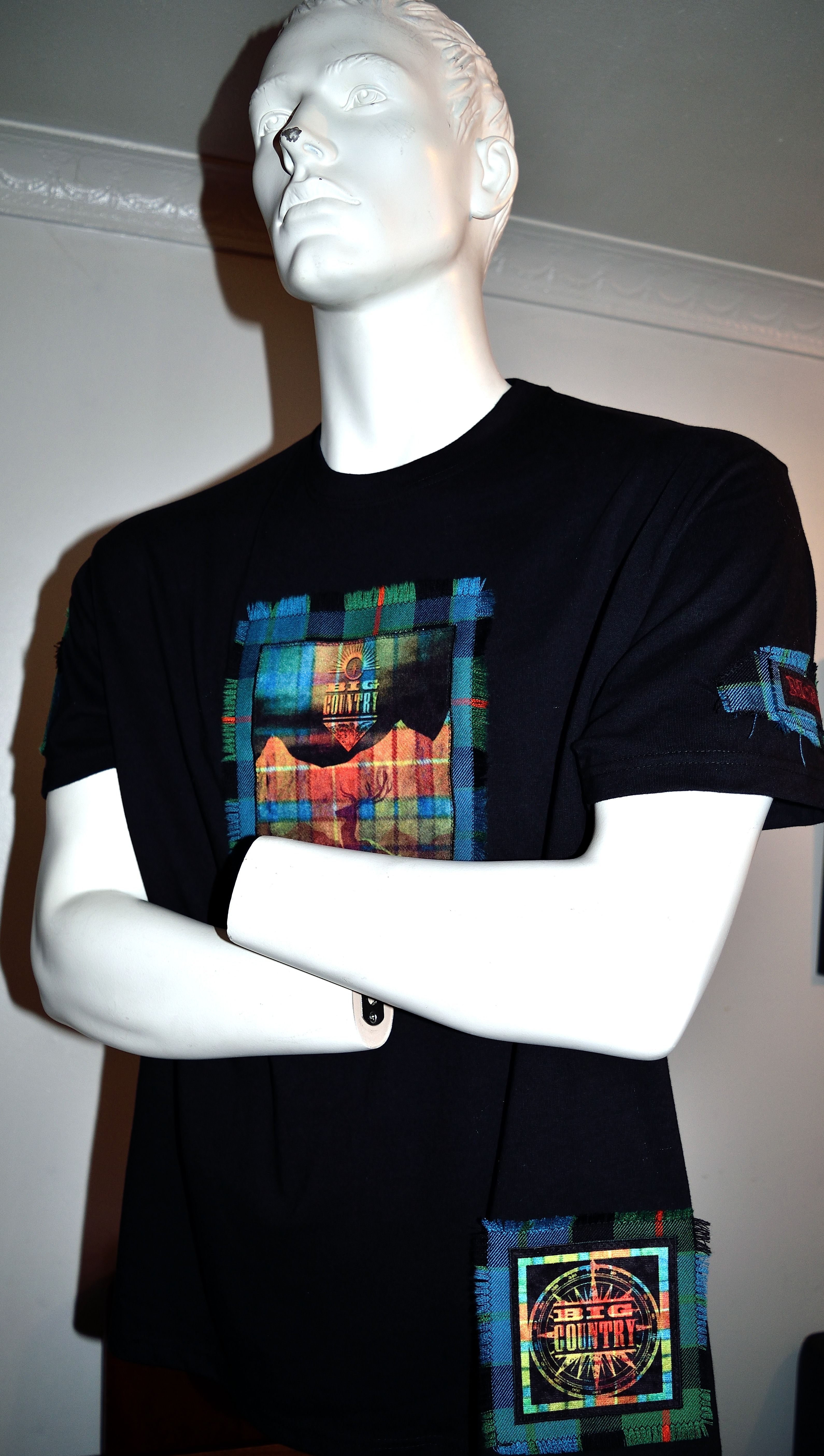 Big Country custom made t-shirt by MoNkA.  Beautiful colours created using sublimation printing on velvet fabric, sewn onto tartan.    https://www.facebook.com/monka.rocks/