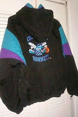 08a76935dbf Vintage Charlotte Hornet Starter Jacket Pull Over Hoodie Basketball Size XL