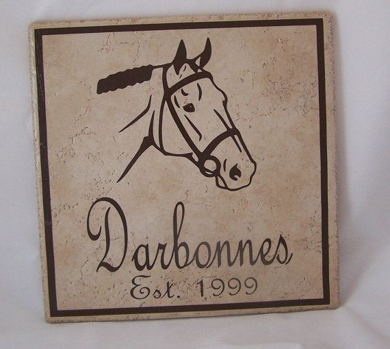 Ceramic Tile Name Plate with Horse Last Name by TincysCorner, $25.95 ...