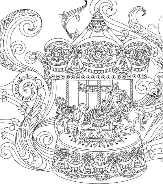 Musical Carousel Adult Coloring Pages Animal Coloring Pages