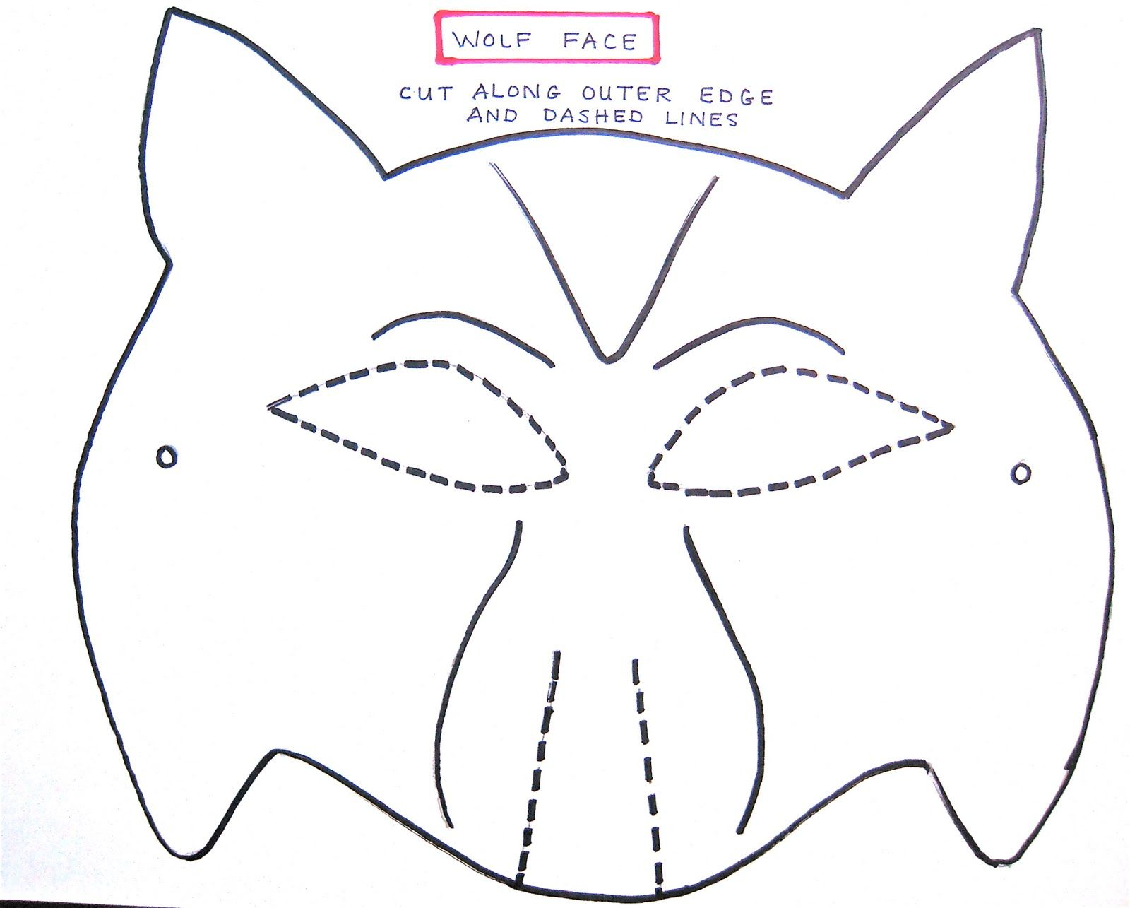 free printable wolf masks stencil – Mask Templates for Adults