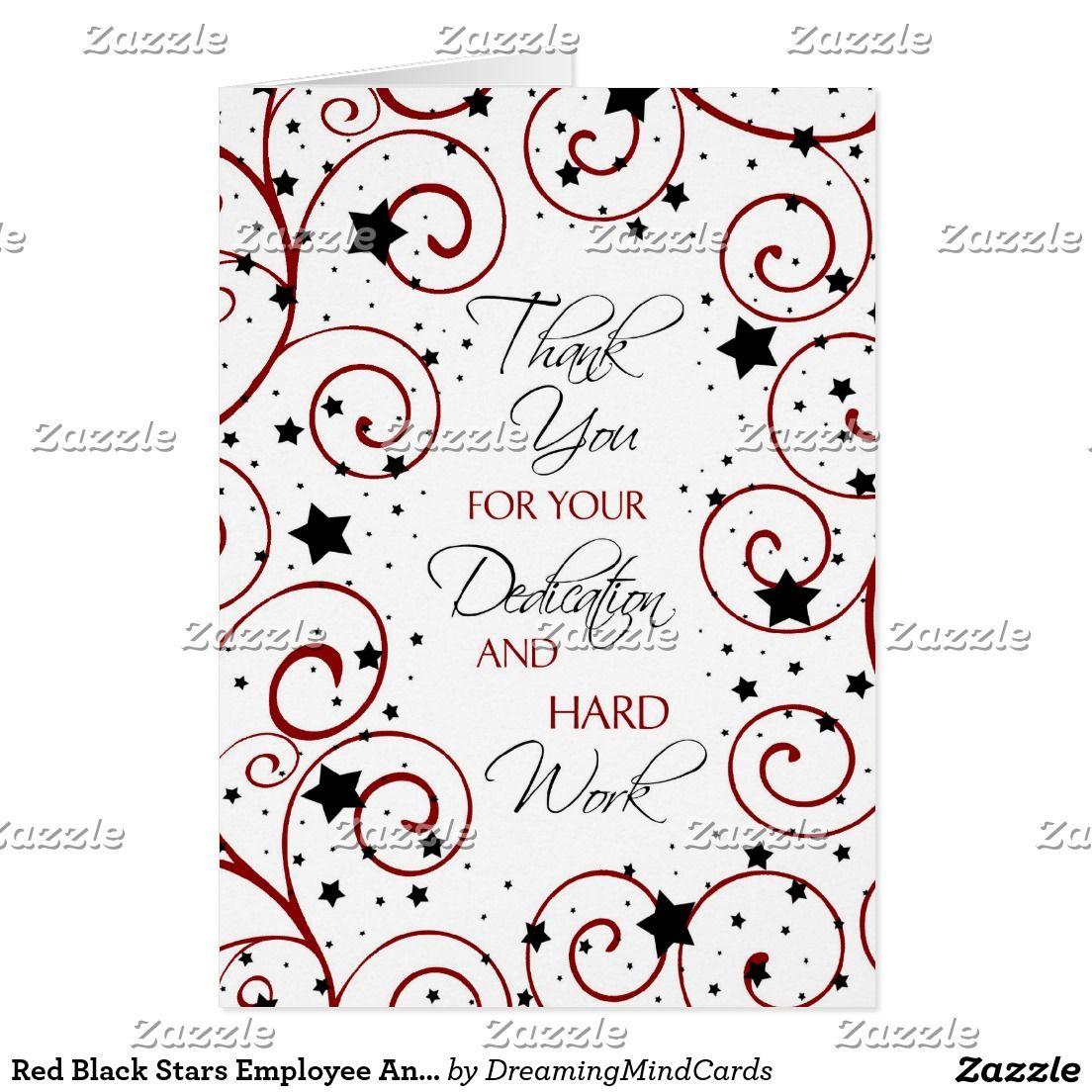 red black stars employee anniversary card - Employee Anniversary Cards