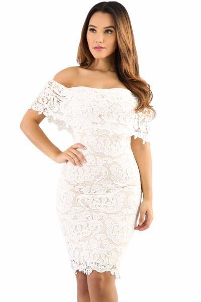 Cream Color Lace Off Shoulder Bodycon Dress | Dresses | Pinterest ...