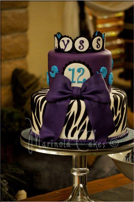 Purple Zebra Birthday Cake Desserts Pinterest Zebra Birthday