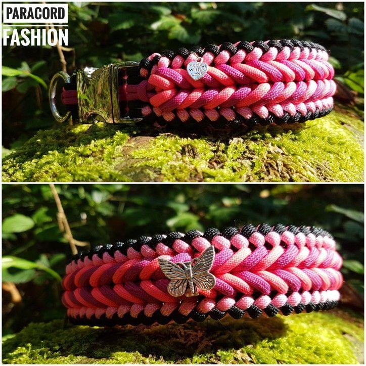 Halsband aus Paracord in Pinktönen mit Alu Klickverschluß und Edelstahlring. Verziert mit einem silbernen Schmetterling. Weitere Modelle findet Ihr auf meiner Facebookseite. ☺