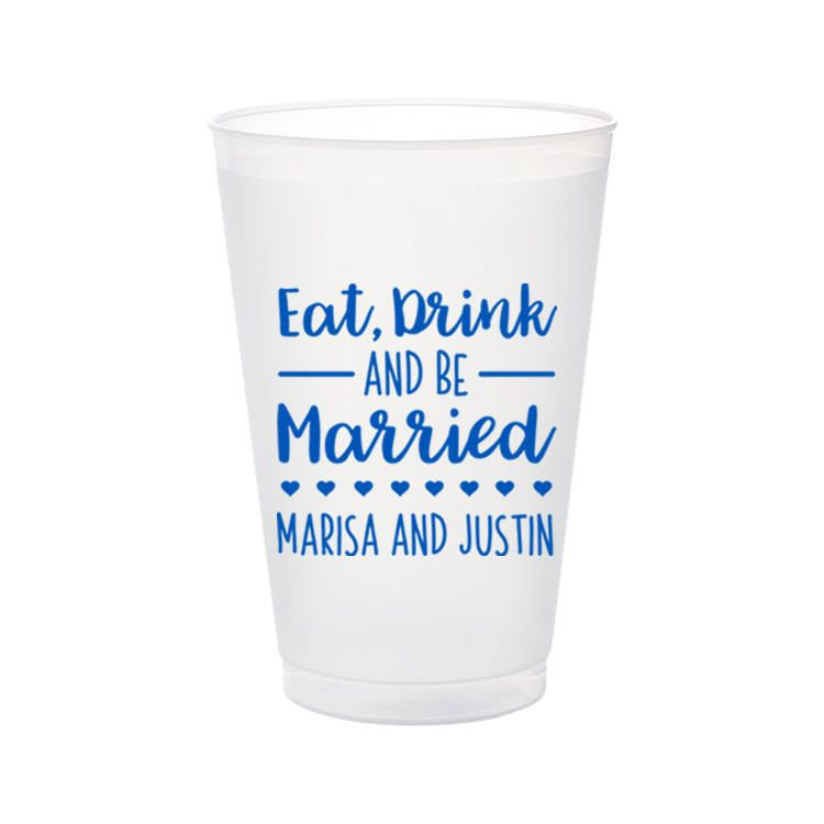 Wedding Cups 20oz Frosted Cup Plastic Cups Wedding Bells And