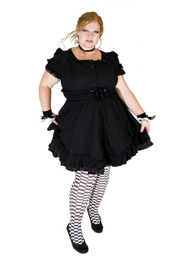 56e4130850f Gothic Lolita Jumper Black Cotton Dress-3X-5X Plus Size Custom to your size