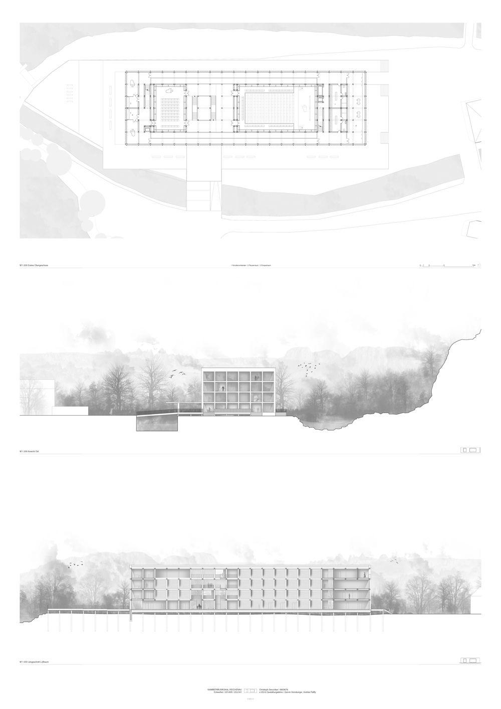 Elevation Plan Presentation : Architecture presentation section elevation plan layout