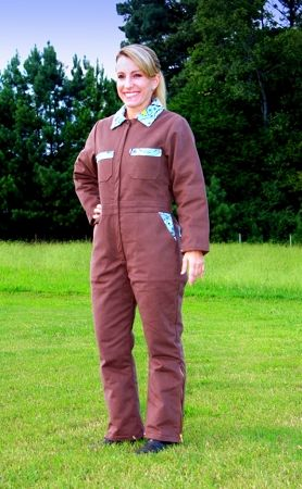 ladies insulated coverall in chocolate brown w blue trim on insulated overalls id=52793