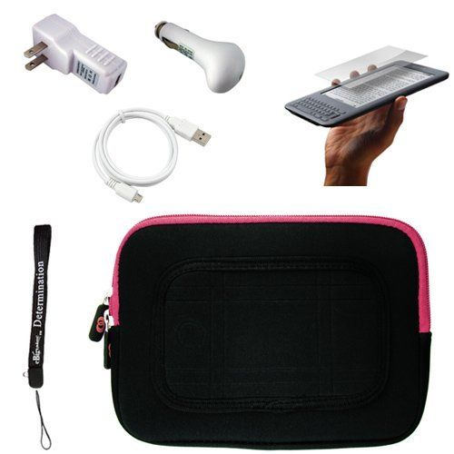 "Pink/Black Sleeve with Interior Fur Padding for Amazon Kindle Wireless Reading Device, Wi-Fi, 6"" Display 3rd Generation + Includes a anti glare screen protector and Data Sync Cable + Includes a USB Travel Car Charger and a Home USB Charger by eBigValue. $27.94. Cover Sleeve with Interior Fur Padding for Amazon Kindle 3 Protection for your tablet. Comes with two way zipper opening, small accessory pocket inside, and cover edges to keep Galaxy secure. Light weight for han..."