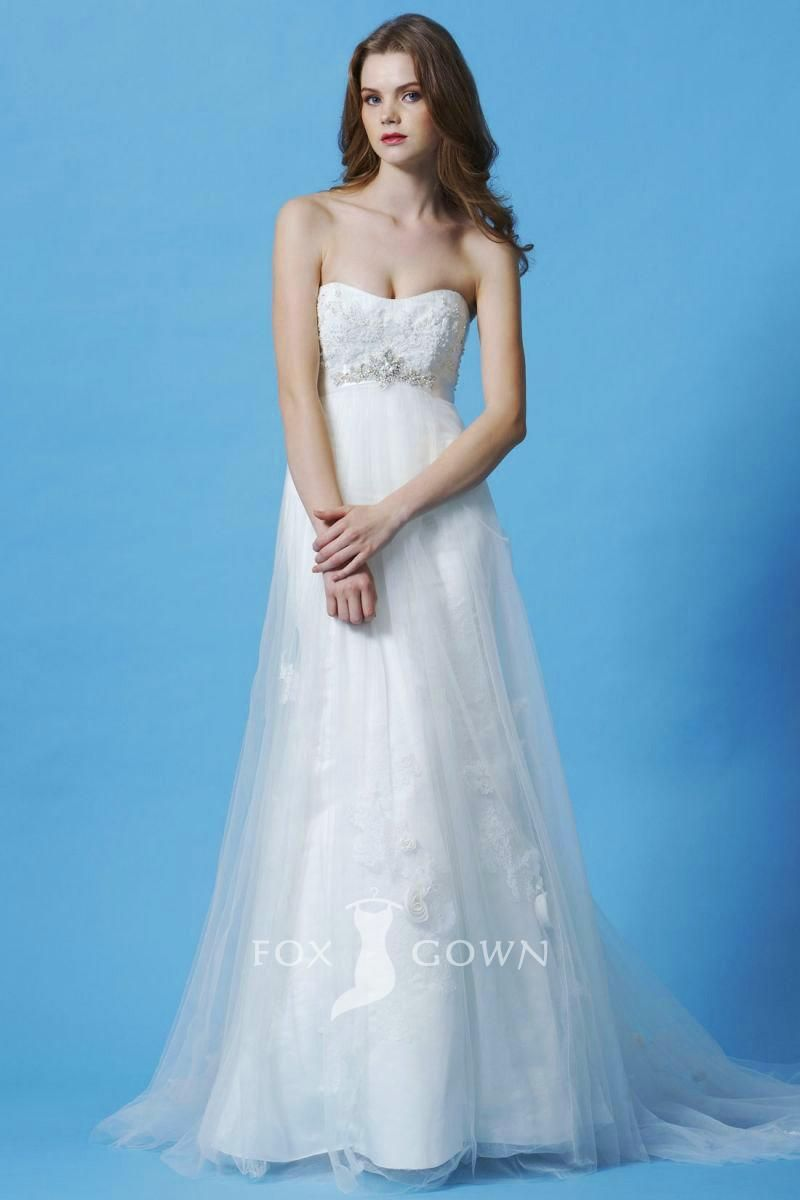 impression strapless empire a-line lace applique wedding dress with ...