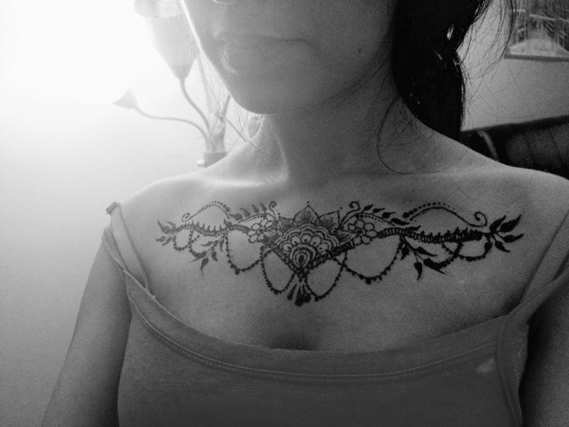Henna Collarbone Tattoo Collar Bone Tattoo Jewelry Tattoo Henna Patterns