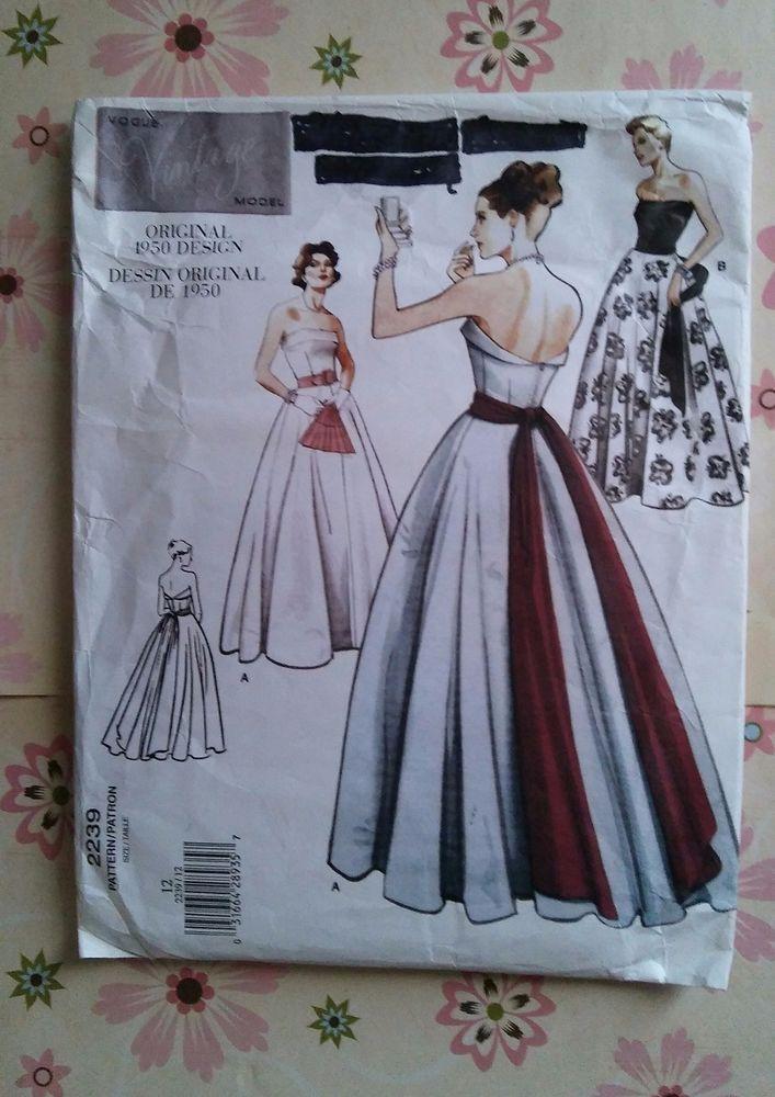 Original 1950 Design VOGUE 2239 Strapless Ball Gown Sewing Pattern ...