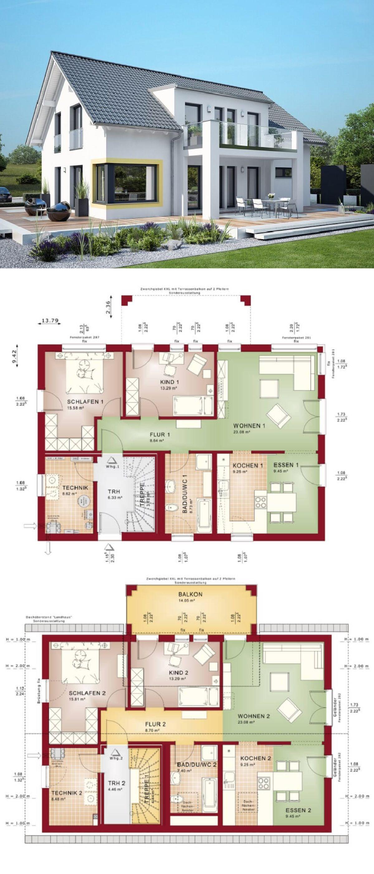zweifamilienhaus modern mit satteldach haus grundriss celebration 211 v3 bien zenker fertighaus hausbaudirekt - Fertighausplne