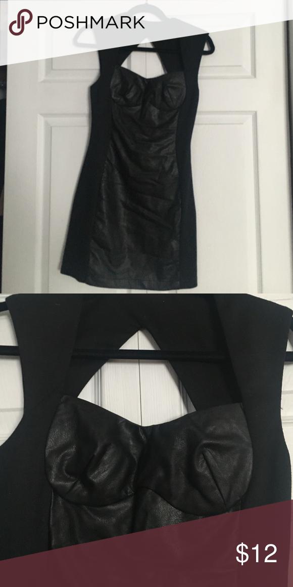 Black Vegan Leather Sweatheart Dress Sexy! Comfortable! Flattering! Nasty Gal Dresses Mini