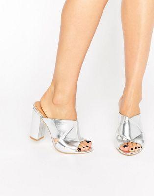 12827edc6 RAID Fay Silver Heeled Mules | Christmas List | Heeled mules, Silver ...