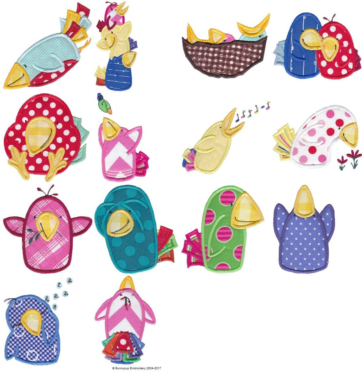 Silly Birds Applique Bird Applique Embroidery Designs And Machine