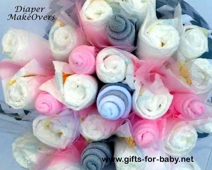 Diaper Flower Bouquet - Pink and Gray Chevron - Unique Baby Shower ...