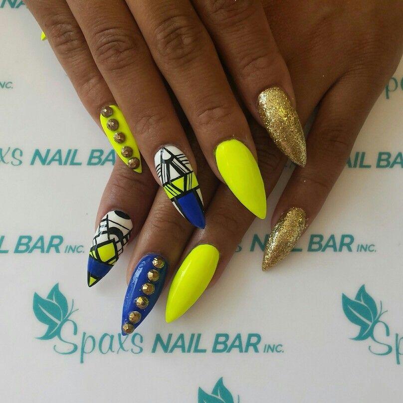 Stellito Neon Yellow And Blue Nails At Spaxsnailbar Yellow Nails