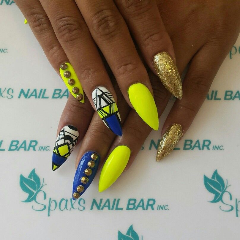 Stellito neon yellow and blue nails at spaxsnailbar spaxs stellito neon yellow and blue nails at spaxsnailbar prinsesfo Choice Image