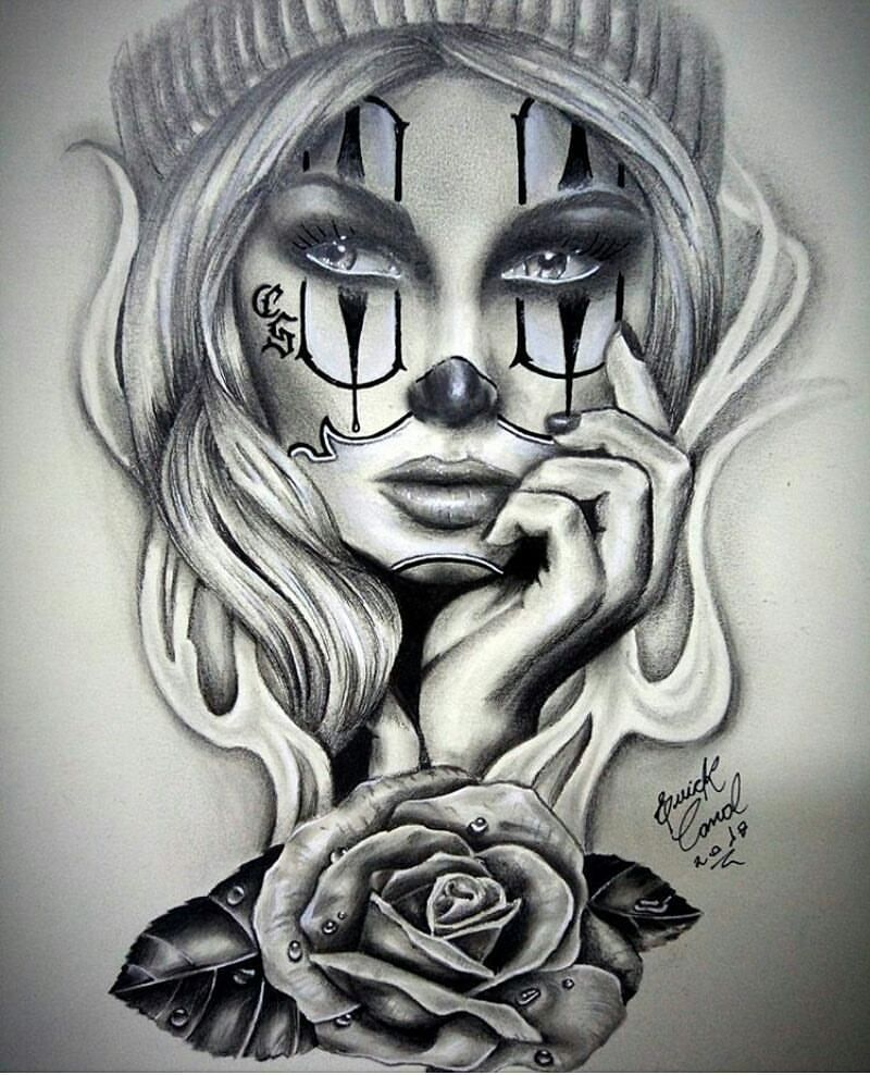 Mexicanstyle Art En Instagram Clown Girl By Erickc Tattoo
