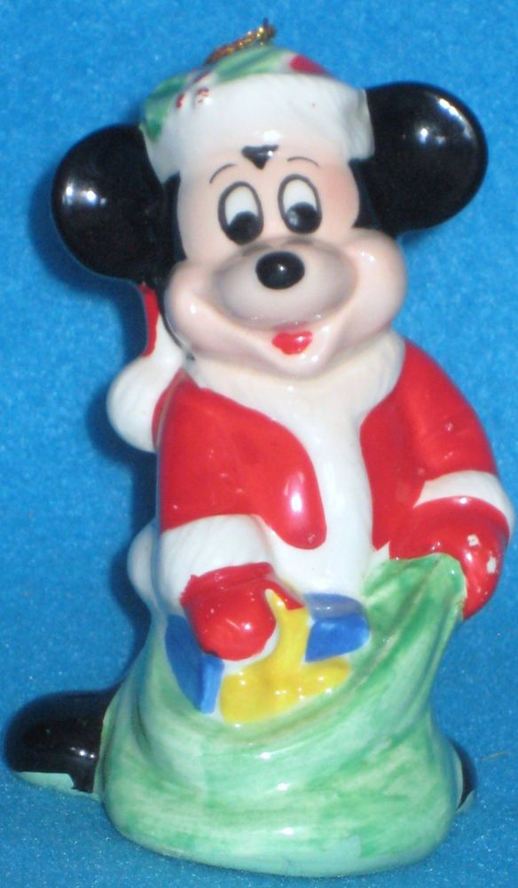 Santa Mickey Mouse Disney Christmas Ornament Made in Japan Holly Green Bag