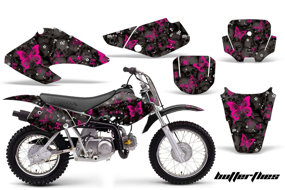 Honda Xr 50 Graphics Skulls Butterflies Black Background
