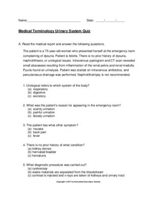 Medical Terminology Urinary System Quiz with Key | CPC EXAM