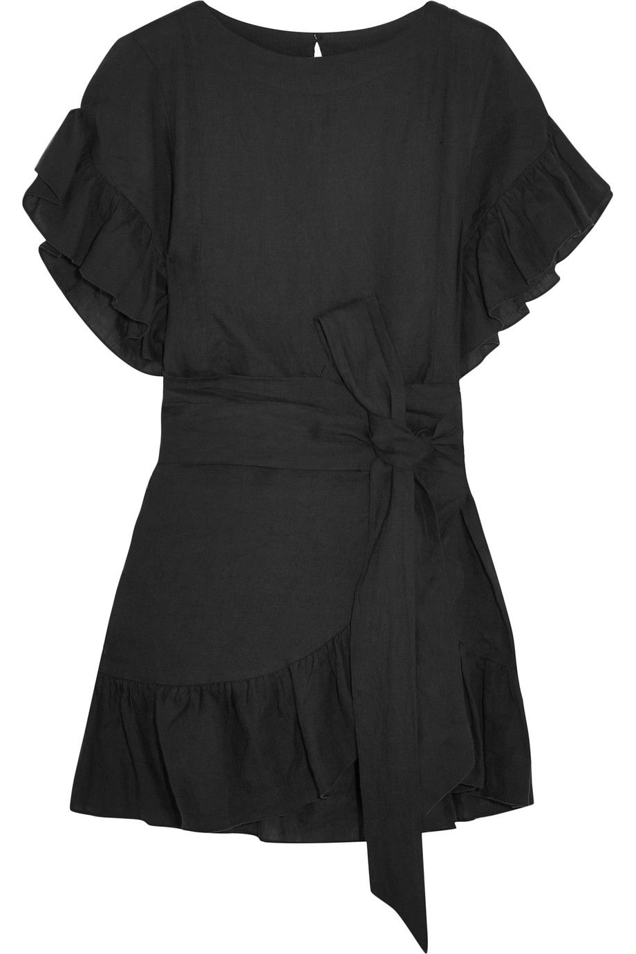 75946f4610 ÉTOILE ISABEL MARANT Delicia ruffled linen mini dress Black linen  Button-fastening keyhole at back 100% linen Dry clean Imported