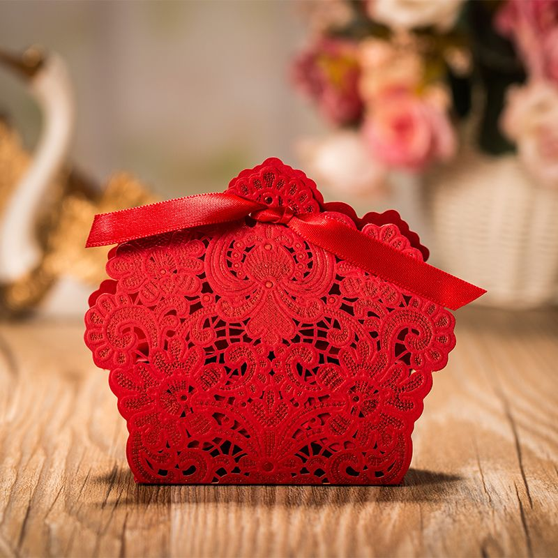 Wholesale 50 Pieces Lot Wedding Favors Small Red Gold White Candy Box Lace