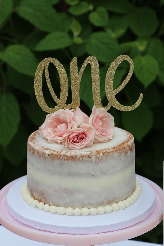 1st Birthday Cake Topper ONE Gold Glitter