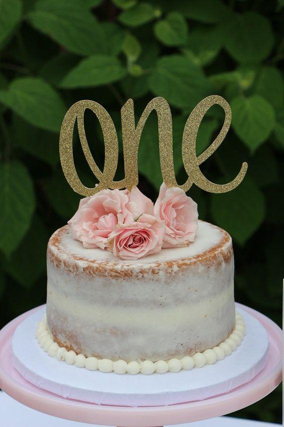 1st Birthday Cake Topper ONE Cake Topper Gold Glitter ONE Cake