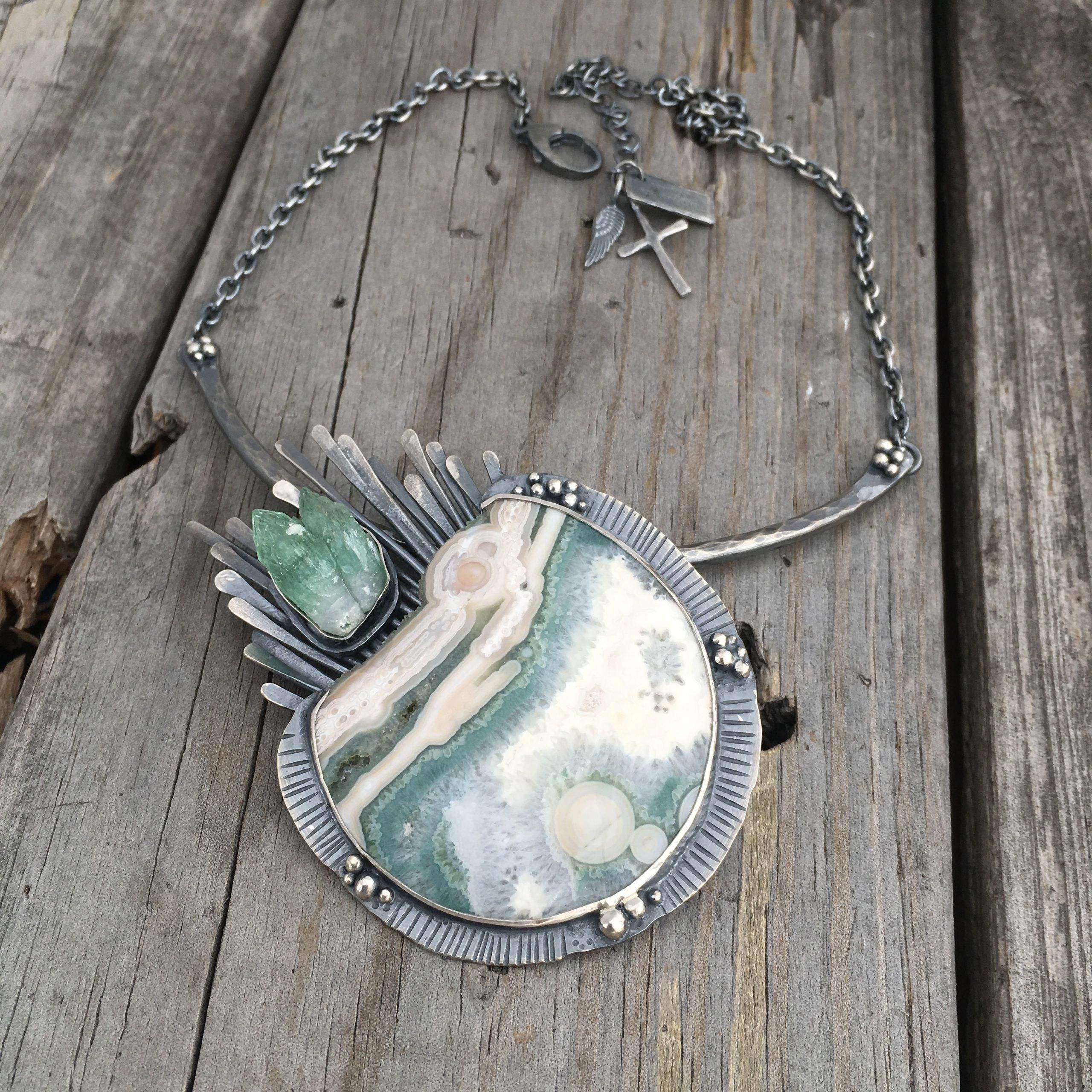 gift for her OOAK necklace semiprecious stone pendant Ocean jasper necklace sterling silver