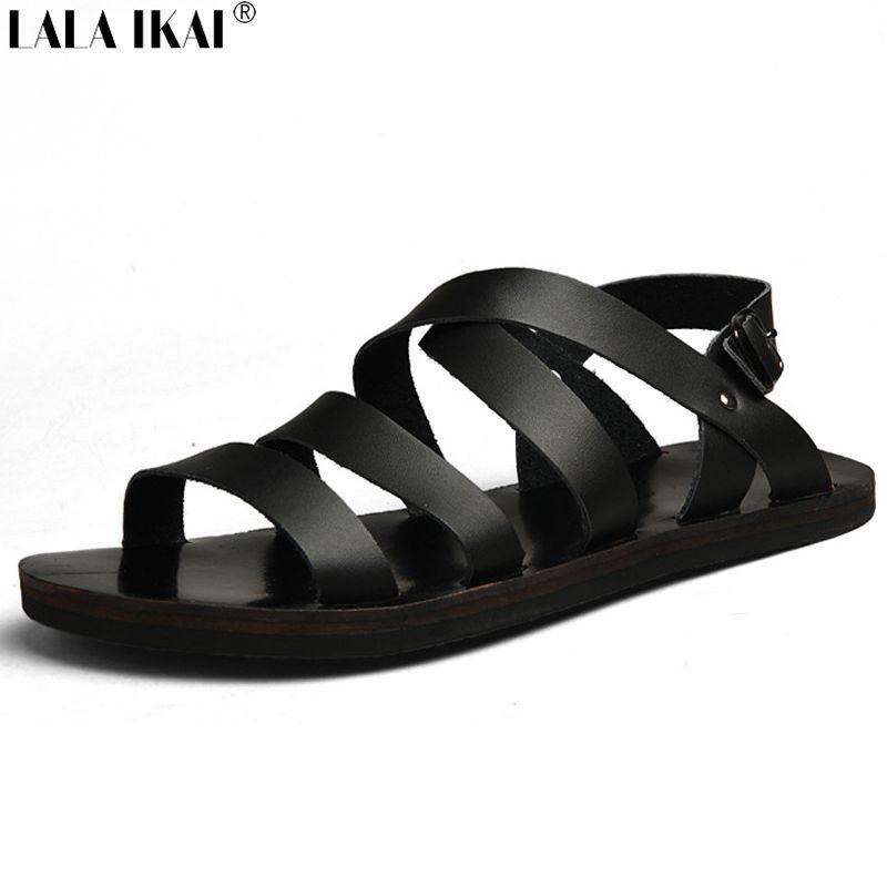 Zapatillas de playa de cuero de los hombres ocasionales pantalones de mano a mano de la playa, zapatillas de costura retro clásicos para los hombres , white , 9.5