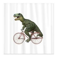 Cycling Tyrannosaurus Rex Shower Curtain 100s Of Bicycle Riding